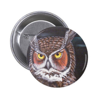 Great Horned Barred Owls Buttons