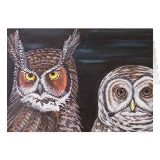 Great Horned & Barred Owls Greeting Card