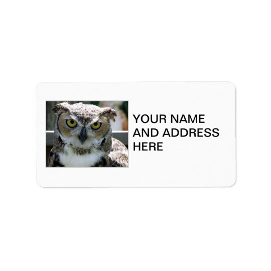 Great Horned Owl Address Label