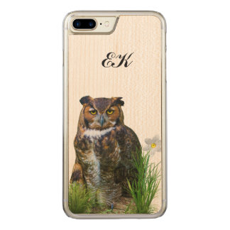 Great Horned Owl and Flower, Monogram Carved iPhone 8 Plus/7 Plus Case