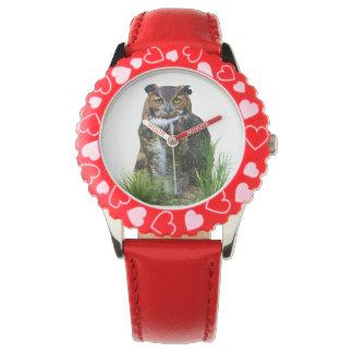 Great Horned Owl Customizable Wristwatch