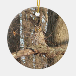Great Horned Owl Round Ceramic Decoration
