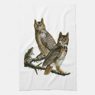 Great Horned Owl John Audubon Birds of America Tea Towel