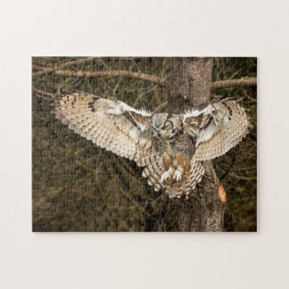 Great Horned Owl Landing Jigsaw Puzzle