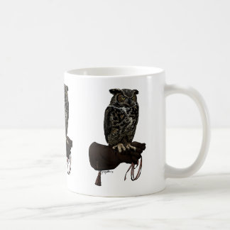 Great Horned Owl on Glove Coffee Mug