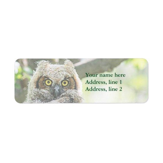 Great Horned Owl Return Address Label