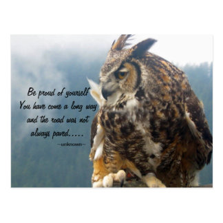 Great Horned Owl with Quote Postcard