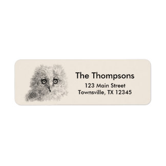 Great Horned Owlet Drawing Return Address Label