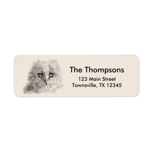 Great Horned Owlet Drawing Return Address Label
