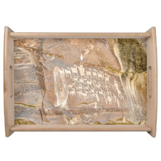 Great Hunt Panel - Indian Rock Art Serving Tray