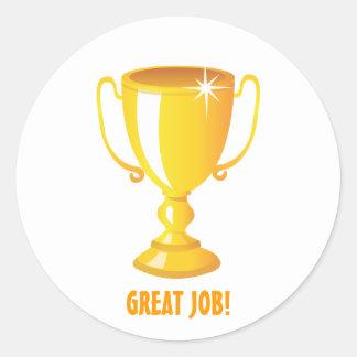 Great Job Gold Trophy Round Sticker
