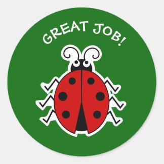 Great job ladybug teachers green classic round sticker