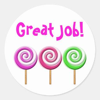 Great Job Swirled Lollipops Stickers