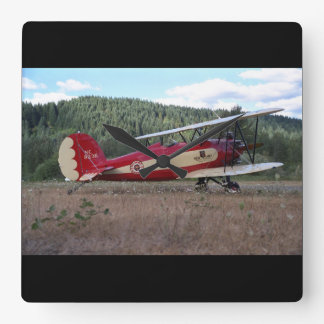 Great Lakes, biplane replica_Classic Aviation Square Wall Clock