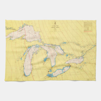 Great Lakes Nautical chart map Tea Towel