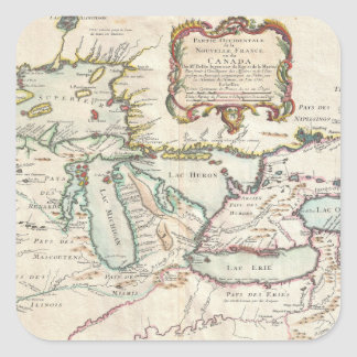 Great Lakes vintage map Square Sticker
