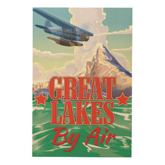 Great Lakes vintage travel poster. Wood Canvases