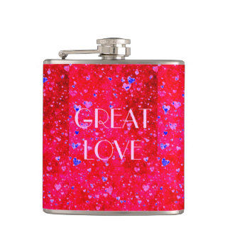 GREAT LOVE Red hearts collage pattern by healing Hip Flask
