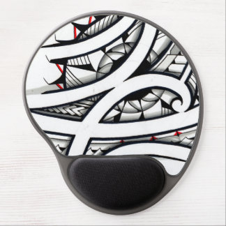 Great Maori tribal tattoo designs with red shapes Gel Mouse Mat