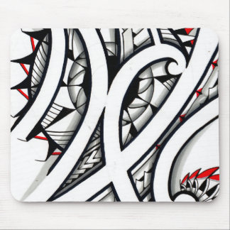 Great Maori tribal tattoo designs with red shapes Mouse Pad