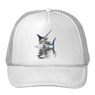 Great marlin with reflection in water cap
