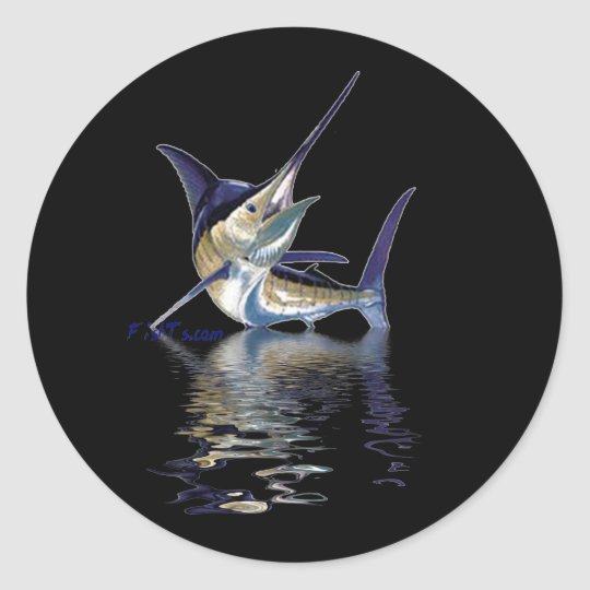 Great marlin with reflection in water classic round sticker