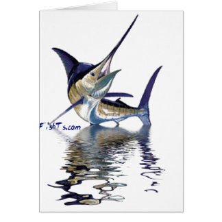 Great marlin with reflection in water greeting card