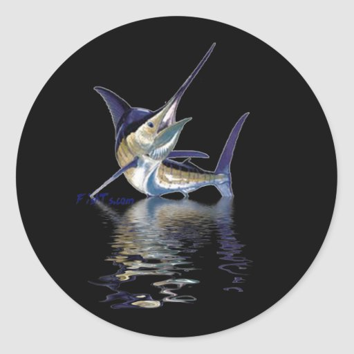 Great marlin with reflection in water round sticker