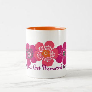 Great Moms Get Promoted to Grandma - orange pink Two-Tone Coffee Mug