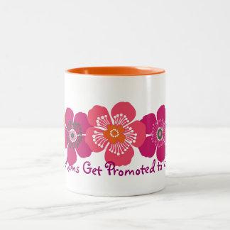 Great Moms Get Promoted to Grandma - orange pink Two-Tone Mug