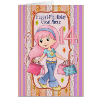 Great Niece 14th Birthday With Cute Shopping Teen Card