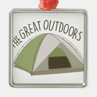 Great Outdoors Silver-Colored Square Decoration