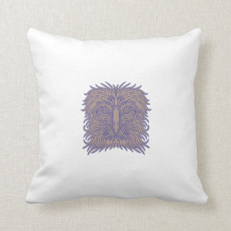 Great Philippine Eagle Head Mono Line Throw Pillow