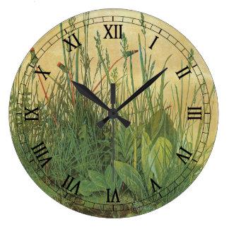 Great Piece of Turf by Albrecht Durer, Vintage Art Large Clock