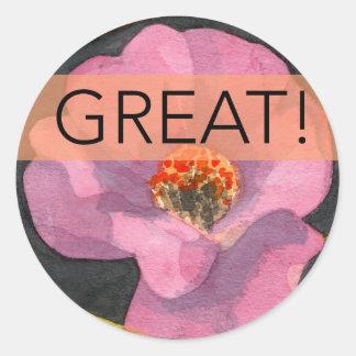 Great Pink Peony Flower Sticker, Round Classic Round Sticker