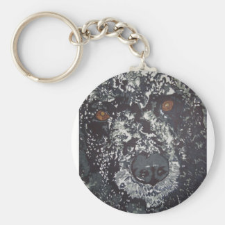 Great portrait of a beautiful dog in the snow basic round button key ring