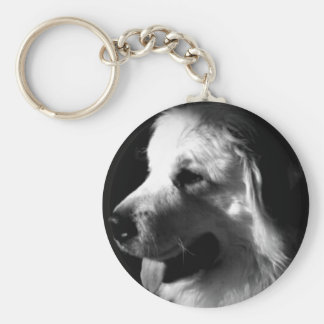 Great Pyrenees Black and White Photo products Basic Round Button Key Ring