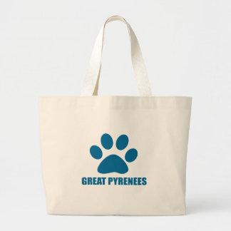 GREAT PYRENEES DOG DESIGNS LARGE TOTE BAG