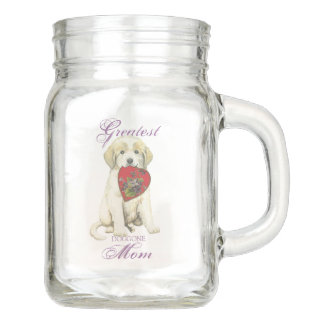 Great Pyrenees Heart Mom Mason Jar