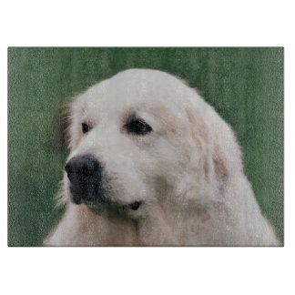 Great Pyrenees Portrait Glass Cutting Board