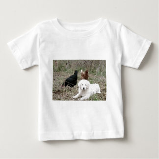 Great Pyrenees puppy with free range chickens Tee Shirts