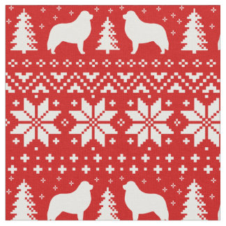Great Pyrenees Silhouettes Christmas Pattern Red Fabric
