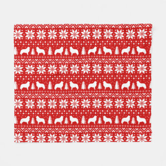 Great Pyrenees Silhouettes Christmas Pattern Red Fleece Blanket