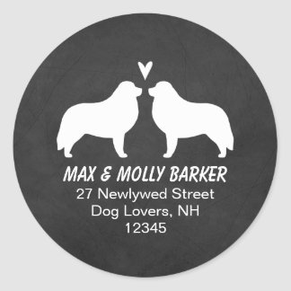 Great Pyrenees Silhouettes Love Return Address Classic Round Sticker