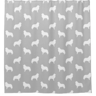 Great Pyrenees Silhouettes Pattern Grey Shower Curtain