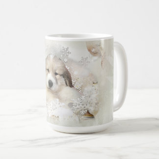Great Pyrenees Watercolor Puppy Holiday II Coffee Mug