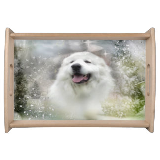 Great Pyrenees - Winter Scene Serving Tray
