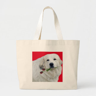 Great Pyrenees with Roses Large Tote Bag