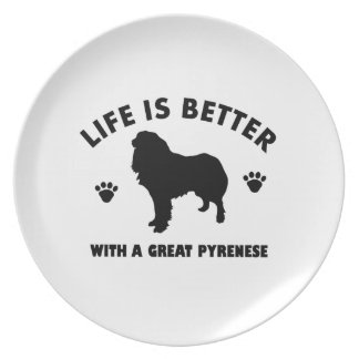Great Pyrenese dog design Party Plates
