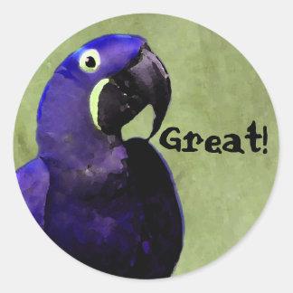 GREAT reward sticker with Blue Parrot